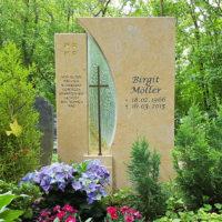 Grabgestaltung Eingelgrab Beispiel Idee christlich religiös Grabstein Grab Blumen Erfurt Steinmetz Hauptfriedhof