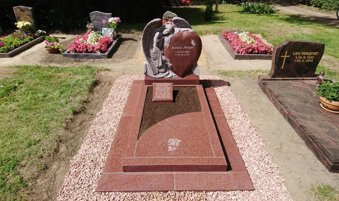 Gestaltung Einzelgrabstätte Herz Engel Grabsteine Einfassung Umrandung Platte Papyrus Rolle Kies Pflegeleicht Friedhof Borne Steinmetz