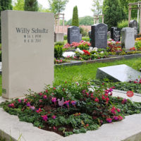 Urnengrabstein Einfassung Kalkstein Gestaltung Grabbepflanzung Beispiel Muster Idee