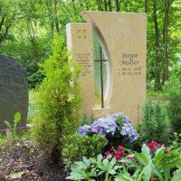 Grabstein mit Grabspruch Beispiel Kreuz Christlich Religiös Kalkstein Bildhauer Erfurt Steinmetz