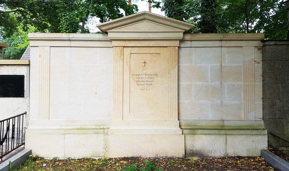 Grabanlage Familiengrab Sandstein Petershagen Friedhof