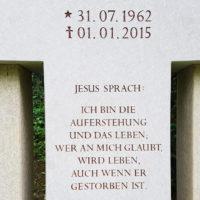 Grabstein Beschriftung Grabinschrift Ich bin die Auferstehung und das Leben Beispiel Idee Grabspruch religiös christlich Johannes Bibel