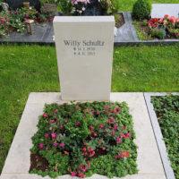 Urnengrab mit Einfassung und Grabbepflanzung Bodendecker Friedhofspflanzen Beispiele Fotos Friedhof Erfurt Hochheim
