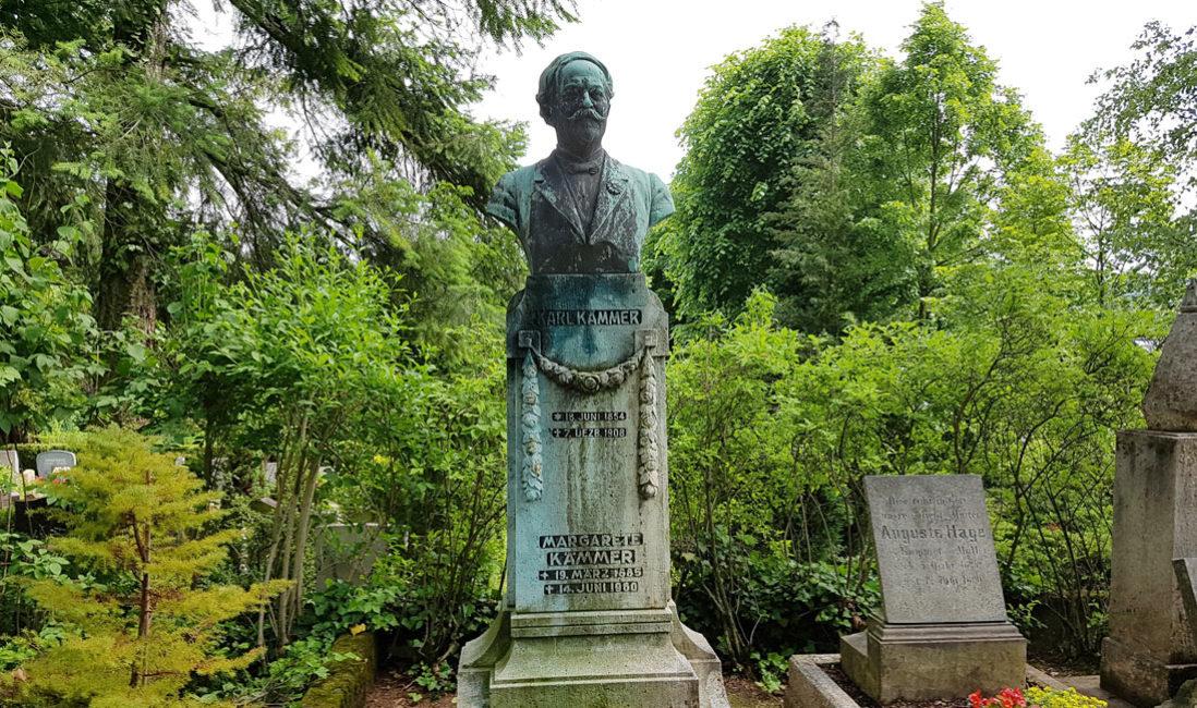 Grabmal Einzelgrab Sandstein Bronze Jena Nordfriedhof Gesamtansicht