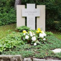 Grabstätte bepflanzen Familiengrab Immergrüne Friedhofspflanzen Gestaltung Grabstein Doppelgrabstein Familiengrabstein Beispiel Idee Bild Hauptfriedhof Erfurt Steinmetz