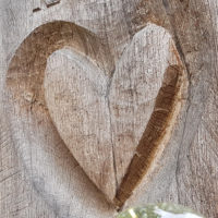 Holz Grabstein Grabmal Symbol Liebe