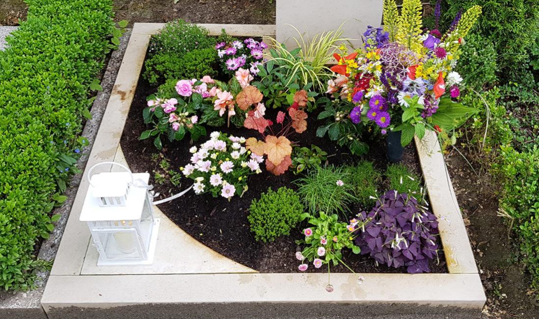 Grabstätte Urnengrab Kalkstein Erfurt Friedhof Hochheim Grabgestaltung Blumen Sommer Herbst Beispiel Idee Vorschlag