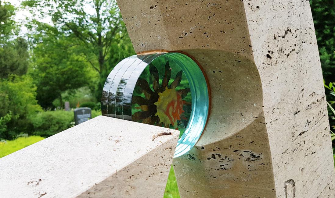 Glas Element Einsatz Deko für Grabsteine Erfurt Hochheim Friedhof