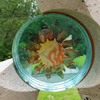 Glas Element Einsatz Symbol Sonne für einen Grabstein