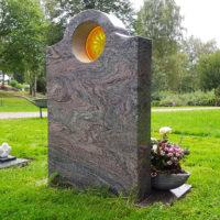 Grabstein mit Glas Einsatz Beleuchtung Grabkerze in Grabstein