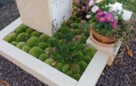 Beispiel für eine pflegeleichte Grabbepflanzung & Grabgestaltung mit Moos