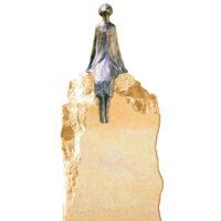 Grabstein mit Bronzefigur