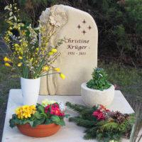 Urnengrabstätte Sonnenblume Grabstein Grabplatte Sandstein Naturstein Schönfließ Eisenhüttenstadt
