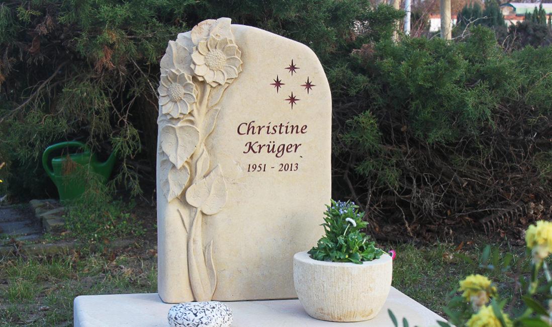 Urnengrab Gestaltung Grabstein Sonnenblume Sandstein Steinmetz  Steinmetz Friedhof Schönfließ Eisenhüttenstadt