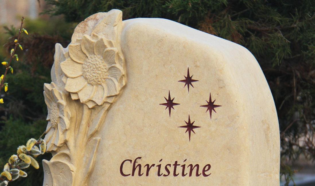 Grabsteine Sonnenblume Grabmale Sandstein Urnengrab Gestaltung Steinmetz Friedhof Schönfließ Eisenhüttenstadt