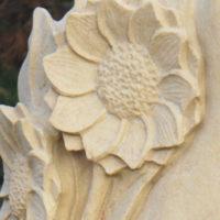 Sonnenblume Grabstein Sandstein Grabmal