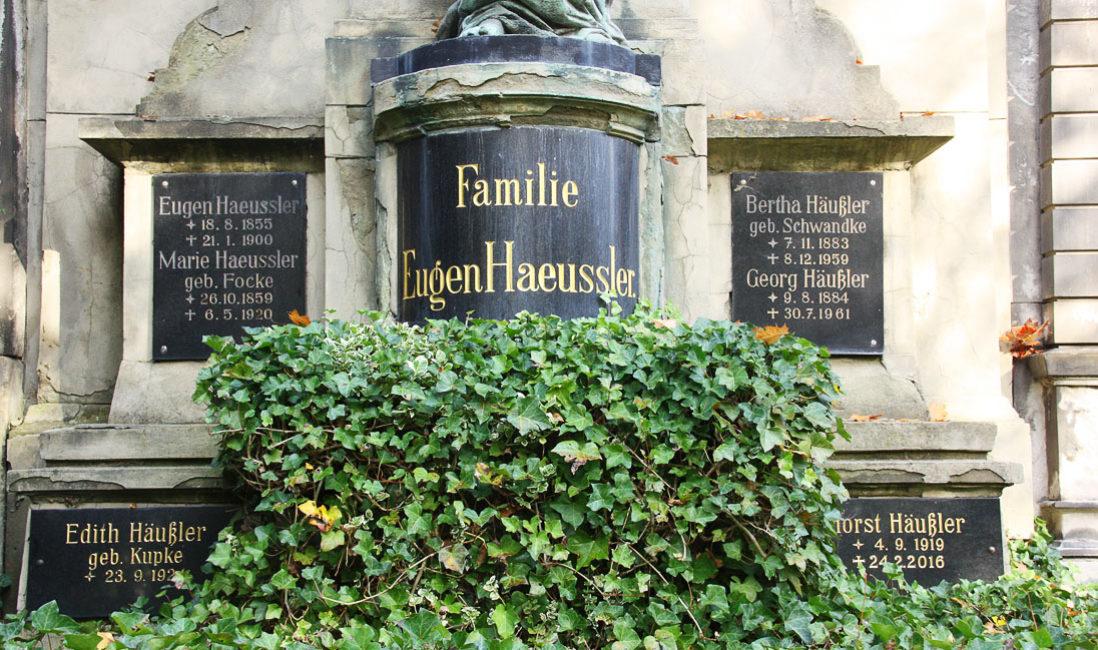 historisches Grabmal Engel Familiengrab Sandstein Bronze Südfriedhof Gera Bepflanzung