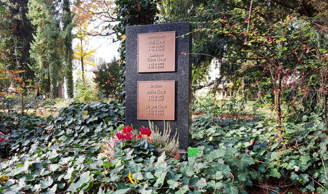 Urnengrabstein Granit Bronzeplatten Familiengrab Südfriedhof Gera