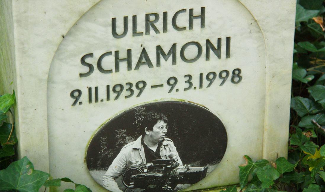 Grabmal Ulrich Schamoni Grabstein mit Engel Grabengel Marmor Waldfriedhof Zehlendorf Berlin