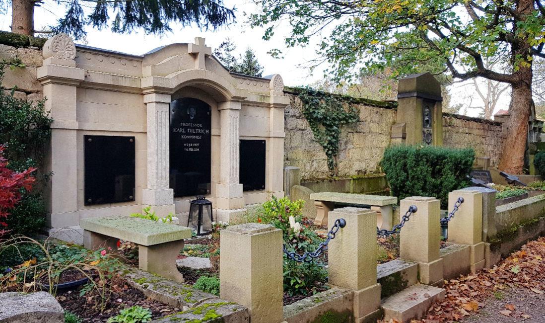 Grab berühmt Grabanlage Familiengrabstein Karl Dietrich Sandstein Hauptfriedhof Weimar