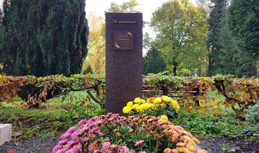 Grabstein Urnengrab Bronze Schriftafel Bepflanzung Herbst Beispiel Steinmetz Gera Südfriedhof