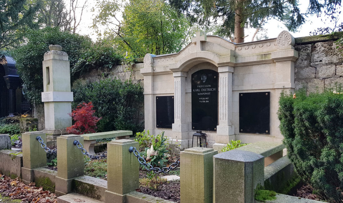 Historische Antike Grabanlage Familiengrabstein Grabstein Karl Dietrich Sandstein Grabwand Hauptfriedhof Weimar