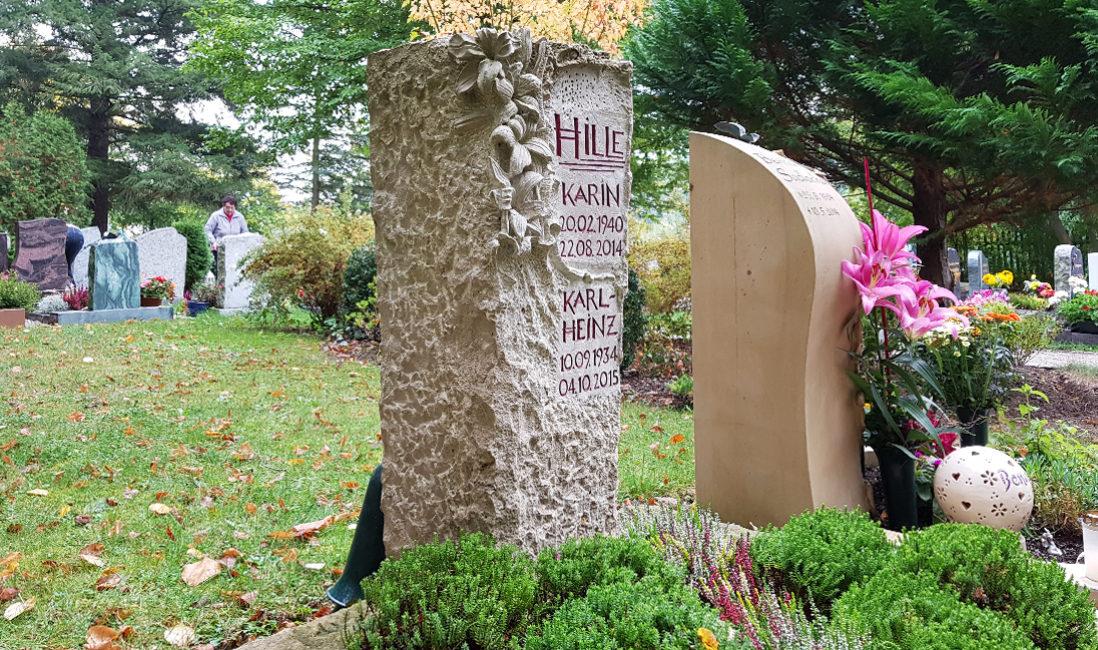Grabstein Blumenornament Urnengrab Kalkstein Hauptfriedhof Saalfeld Seitenansicht