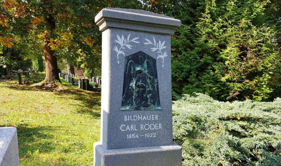 historisch Grabstein Einzelgrab Carl Röder Granit Hauptfriedhof Greiz