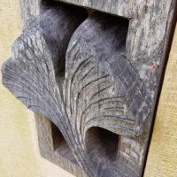 Grabstein Symbole Gingko Blatt Holz