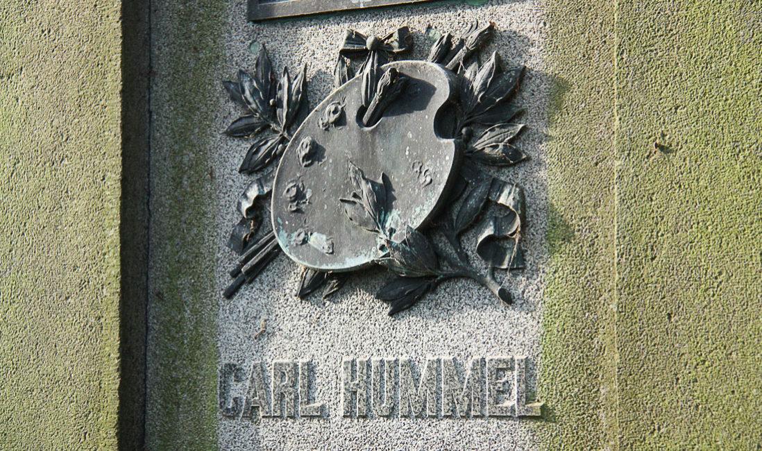 Antiker historischer Grabstein Familiengrabanlage Carl Hummel Sandstein Grabstätte Hauptfriedhof Weimar