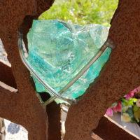 Grabkreuz Metall Stahl Rost Optik Design Glas Schmied Kunstschmied Modern Idee Beispiel Foto Bild