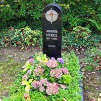 Grabbepflanzung immergrün Bodendecker Hortensie Grabeinfassung Einzelgrab Grabstein mit Kreuz Symbol