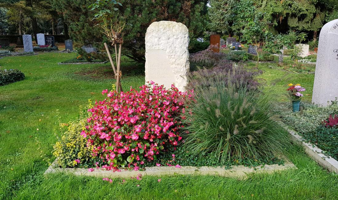 Moderne Steinmetz Grabgestaltung Doppelgrabstein Familiengrab Findling Grabstein Ziergras Einfassung Blumen Sommer Herbst Winter Trinitatisfriedhof Dresden