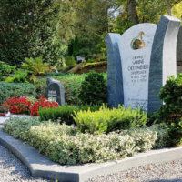 Moderne Urnengrab Gestaltung Sommer Herbst Allerheiligen Bodendecker immergrün sonniger Standort Grabbepflanzung Friedhofsbepflanzung Friedhof Greiz