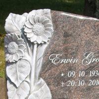 Besondere Grabsteine Grabmale Bildhauer Steinmetz Floral Sonnenblume