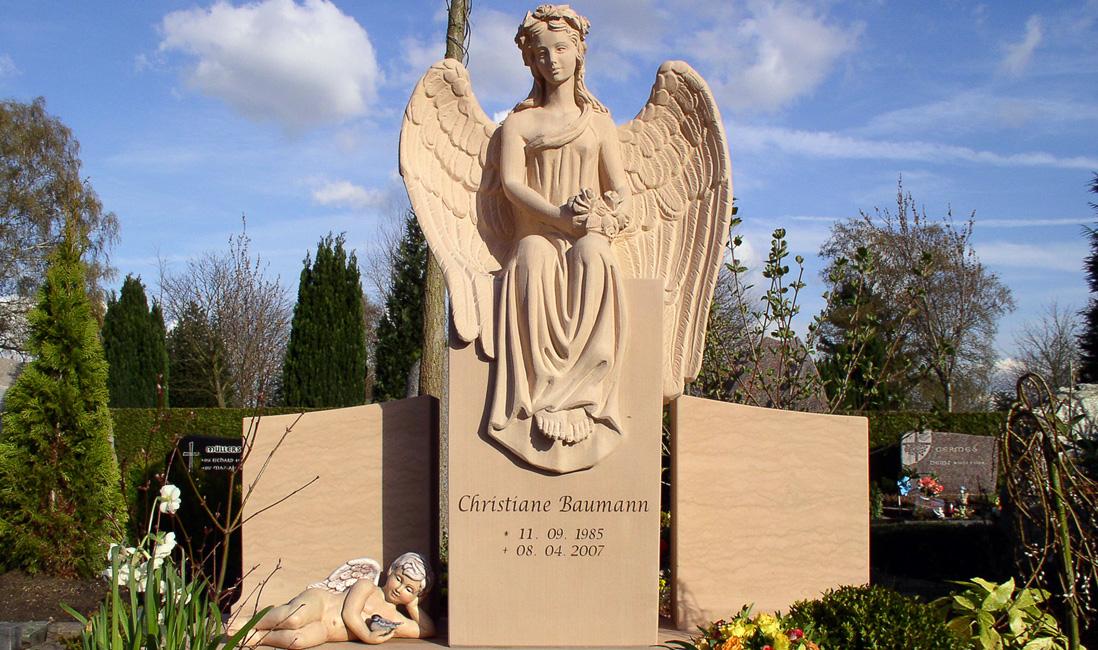 Grabanlage Grabsteine Grabmale Engel Doppelgrab Familliengrab Gestaltung Steinmetz Friedhof Willich