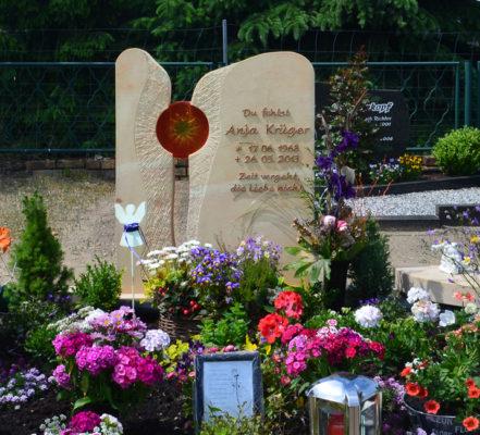 Gröbern Gemeinde Muldenstausee Friedhof Familiengrab Krüger