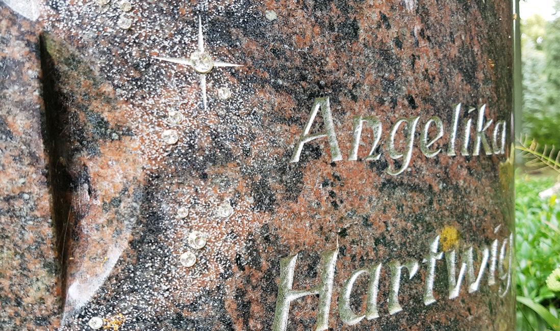 Grabstein Urnengrab Granit Svariwski Kristalle Wellen Glitzersteine Sterne Grabbepflanzung Blumen Buchsbaum Grabgestaltung Friedhof St. Bartholomaei  Demmin