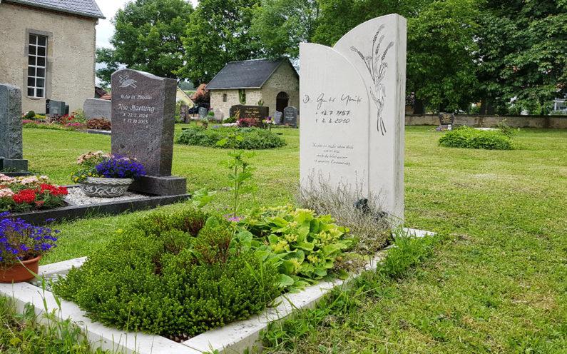 Elleben-Riechheim Evangelischer Friedhof St. Gallus Grabstein mit Ähren - 1