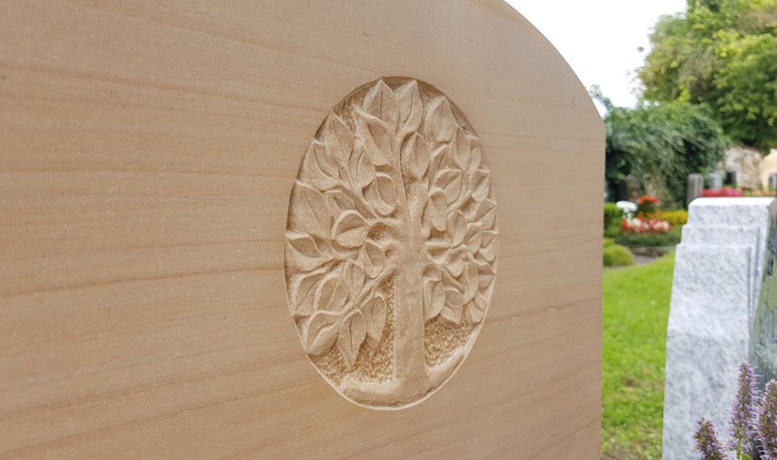 Urnengrabstein Sandstein Lebensbaum Symbol Steinmetz Idee