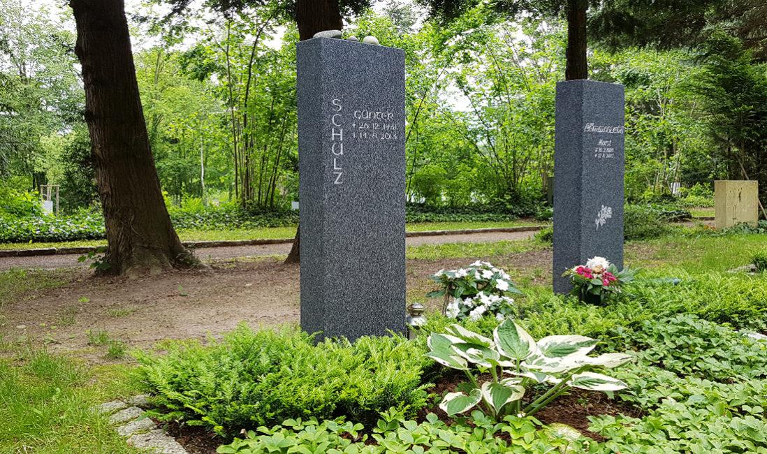 Grabstein Stele Dunkel Granit Grabbepflanzung grün Bodendecker Stauden Funkie Grabgestaltung pflegeleicht SOmmer Herbst Frühjahr Hauptfriedhof ErfurtA
