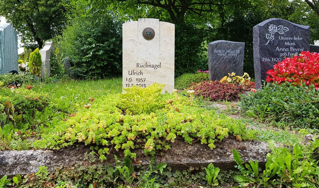 Grabstein Travertin Bronze Relief Zweig Grabbepflanzung Bodendecker Friedhof Neustadt Orla