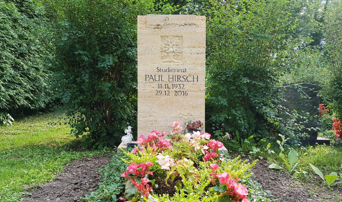 Grabstein Einzelgrab Travertin Lebensbaum Grabbepflanzung mit Immergün Grabpflanzen Sommer Blumen Friedhof Neustadt Orla