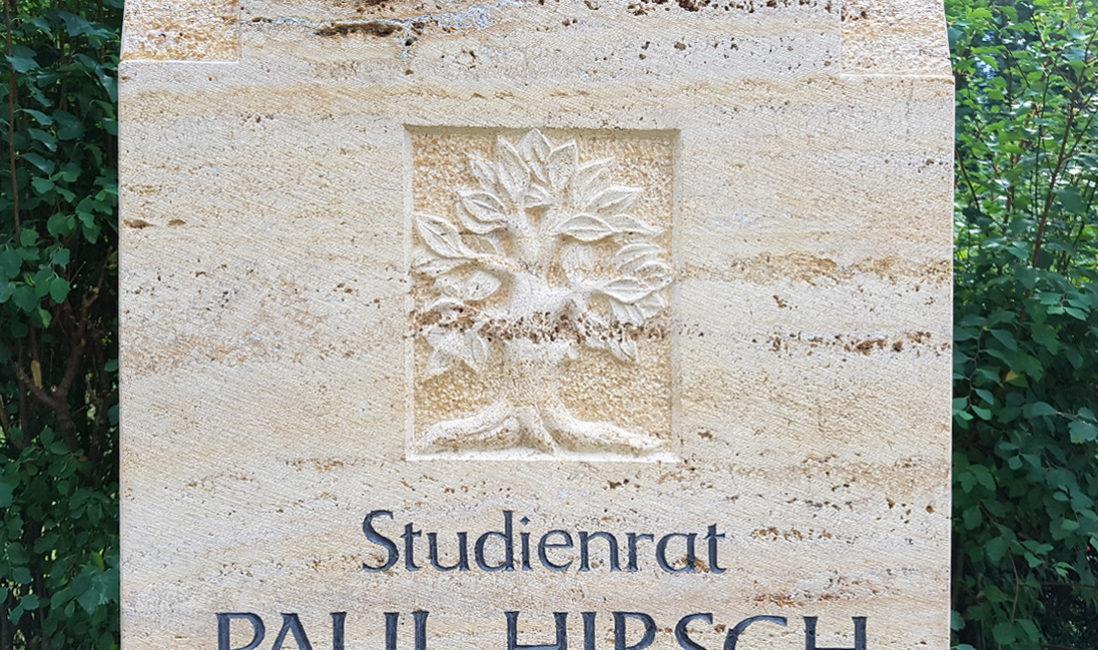 Grabmal gelber Travertin Grabinschrift Steinmetz Symbol Lebensbaum