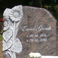 polierte Grabsteine-Grabmale-Granit-Paradiso-Sonnenblume-Steinmetz-poliert Steinmetz Weiskirchen Friedhof
