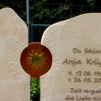 Zweiteilige Zweigeteilte Grabsteine Doppelgrab Familiengrab Sonne Glaskunst Glaseinsatz