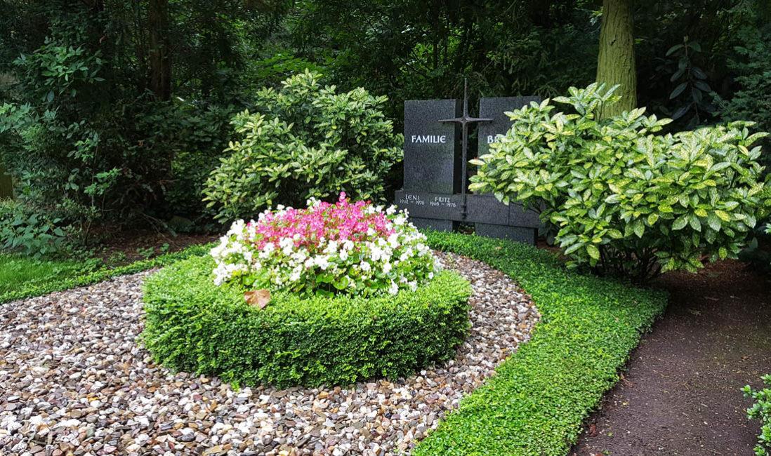 Grabanlage Familiengrabstein Granit Kreuz Grabbepflanzung Gehölz Buchsbaum immergrün Südfriedhof Köln