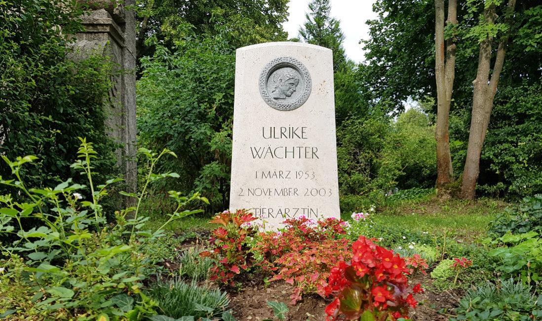 Grabmal Einzelgrab Kalkstein Granit Portrait Steinfigur Grabbepflanzung Sommer Blumen