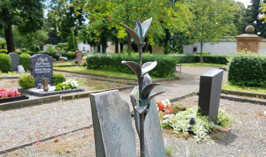 Grabstein Bronze Blume Modern Steinmetz Beispiel Friedhof Weida