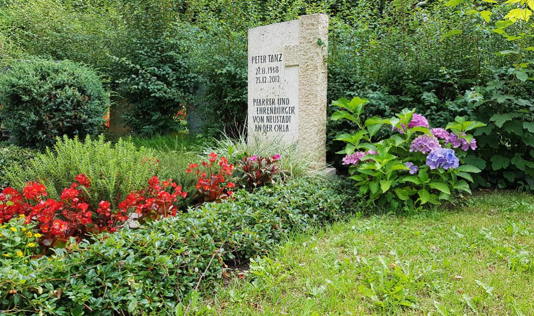 Grabmal mit Kreuz heller Travertin rote Grabpflanzen Hortensie Grabeinfassung Bodendecker